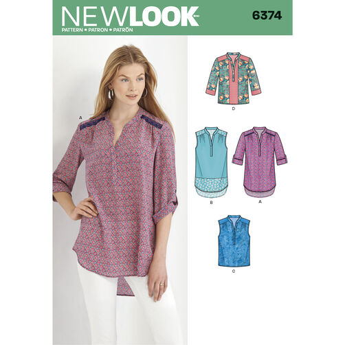 New Look Pattern 6374 Misses' Shirts with Sleeve and Length Options