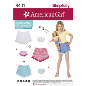 "Simplicity Pattern 8401 American Girl Shorts for Child, Girl and 18"" Doll"