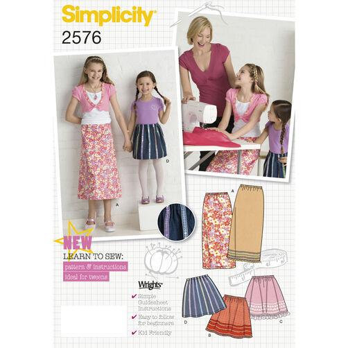 Simplicity Pattern 2576 Child's & Girls' Skirts