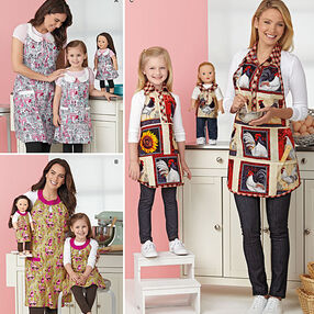 "Child's and Misses' Aprons and Aprons for 18"" Doll"