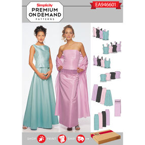 Simplicity Pattern EA946601 Premium Print on Demand Misses' Special Occasion Separates