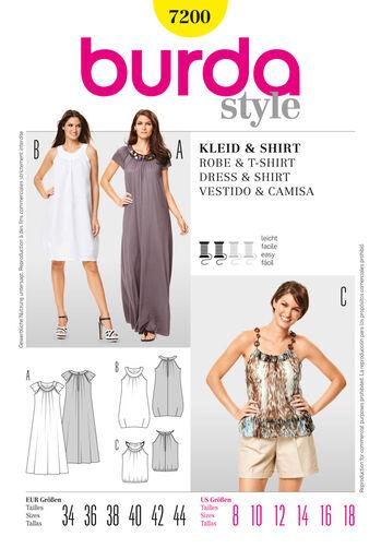 Burda Style Pattern 7200 Dress & T-Shirt