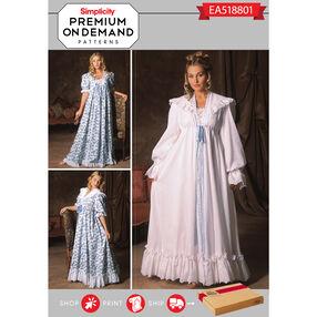 Simplicity Pattern EA518801 Premium Print on Demand Misses' Victorian Nightgown