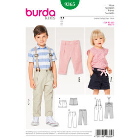 Burda Style Pattern B9365 Child Elastic Waistband Pants