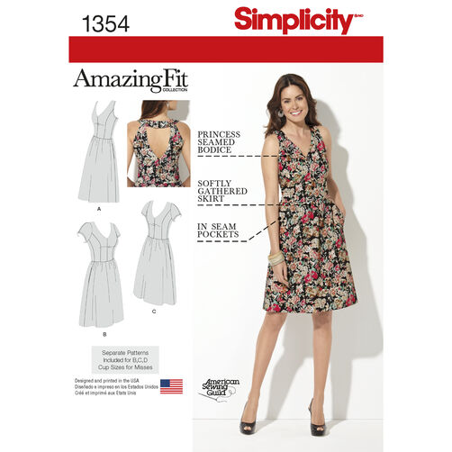 Simplicity Pattern 1354 Misses' & Plus Size Amazing Fit Dress