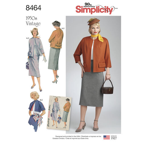 Simplicity Pattern 8464 Misses' Vintage Skirt and Lined Jacket in Two Lengths