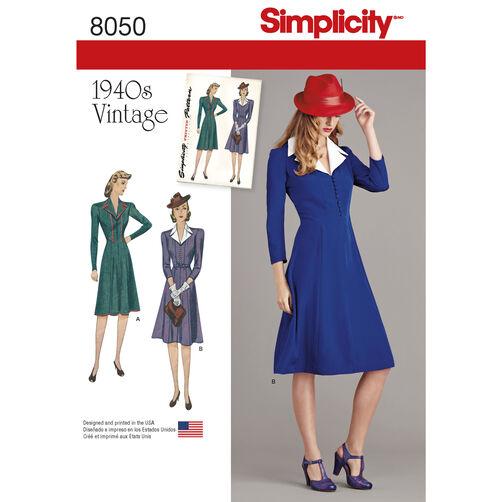 Simplicity Pattern 8050 Vintage 1940s Dress Pattern