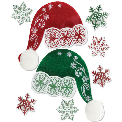 Lace Santa Hat Stickers_50-21266