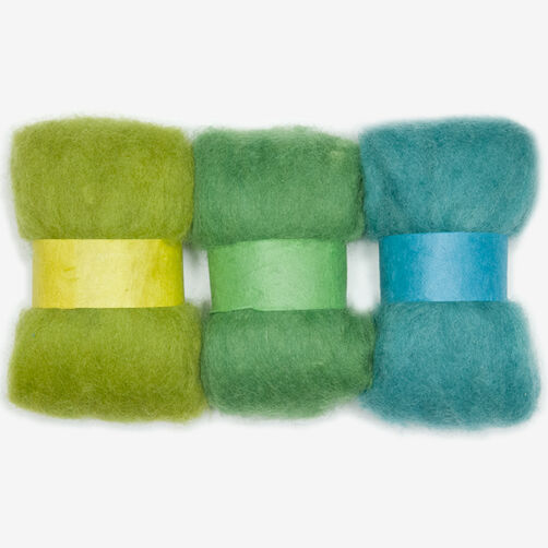 Blue and Green Wool Roving Trio, Needle Felting_72-73930