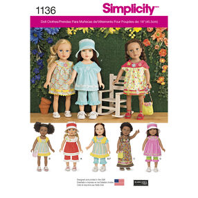 "Simplicity Pattern 1136 Everyday Clothes for 18"" Dolls"