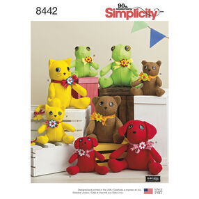 Pattern 8442 Felt Stuffed Animals in Two Sizes