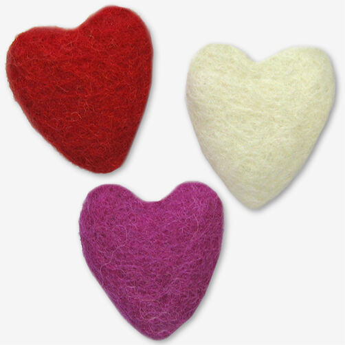 Molded Wool Felt Hearts_72-74035