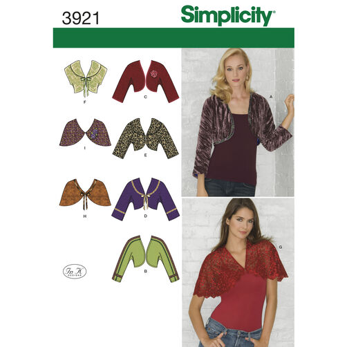 Simplicity Pattern 3921 Misses' Boleros and Capelets