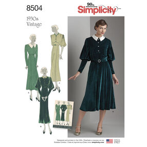Simplicity Pattern 8504 Misses' Vintage Dress