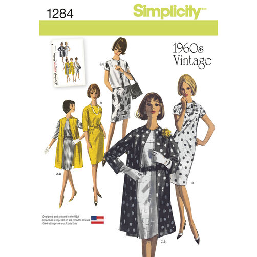 Simplicity Pattern 1284 Misses' Vintage 1960s Dress, Coat & Vest in Two Lengths