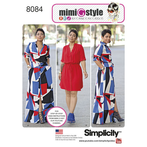 Simplicity Pattern 8084 Misses' and Miss Plus' Shirt Dress in Two Lengths