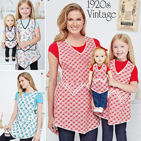 "Misses, Child and 18"" Doll Vintage Aprons"