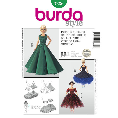 Burda Style Pattern 7336 Doll Clothes