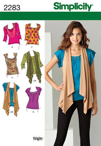 Simplicity Pattern 2283 Misses' Knit Tops & Vest