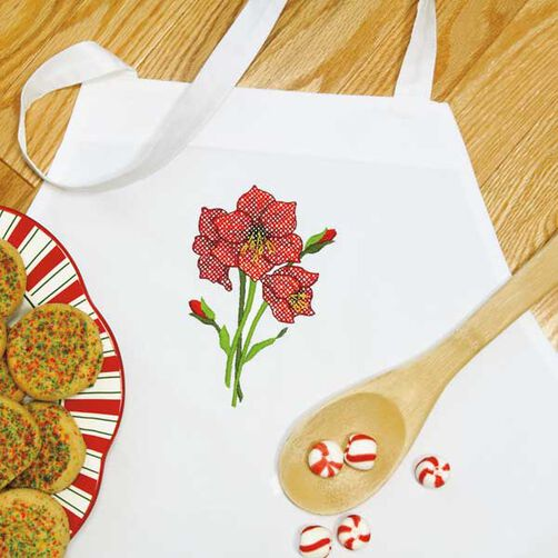 Amaryllis Apron in Stamped Cross Stitch_72-08908