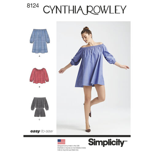 Simplicity Pattern 8124 Misses' Romper Dress & Top. Cynthia Rowley Collection