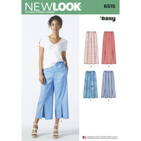 New Look Pattern 6515 Misses' Pants in Two Lengths with Optional Topstitching or Slits