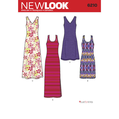 New Look Pattern 6210 Misses' Knit Dress in Two Lengths