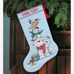 Stack of Critters Stocking, Counted Cross Stitch_70-08840