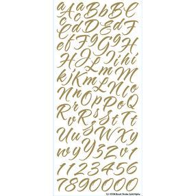 Brush Stroke Gold Script Alpha Stickers_52-10106