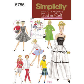 "Simplicity Pattern 5785 for 1960s Vintage 11-1/2"" Doll Clothes"