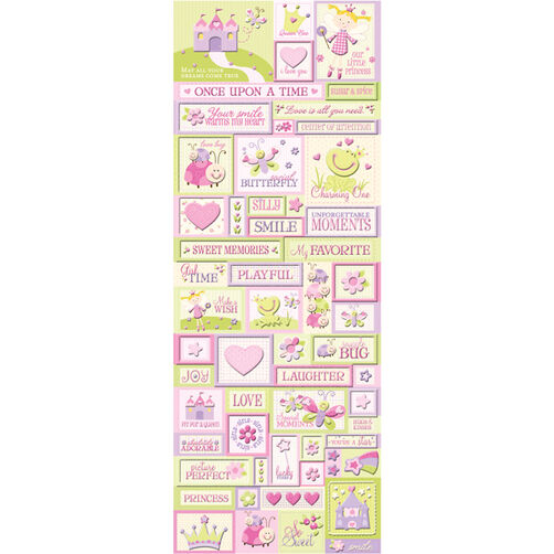 Princess Icon Glitter Embossed Stickers_30-245167