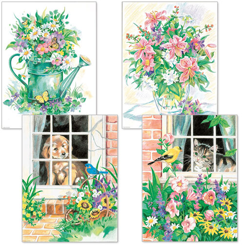 Flower and Pets Variety Pack, Pencil by Number Set of 4_91219