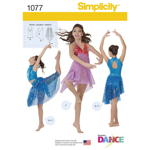 Simplicity Pattern 1077 Girls' & Misses' Knit Dancewear