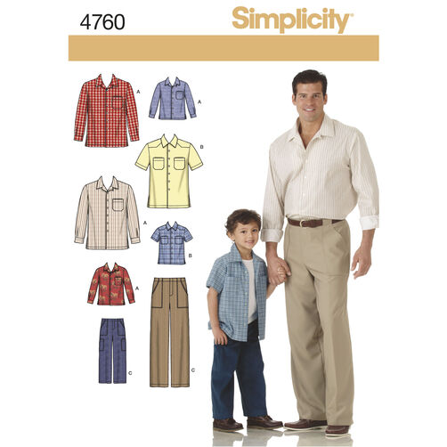 Simplicity Pattern 4760 Boy's and Men's Shirts and Pants