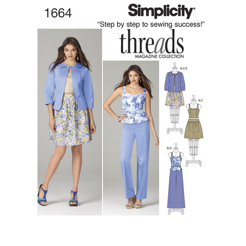 Simplicity Pattern 1664 Misses' Top, Skirt, Pants and Jacket