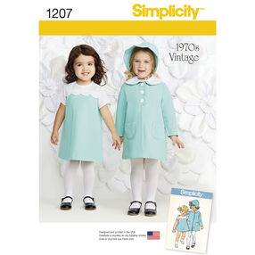 Simplicity Pattern 1207 Vintage Toddlers' Dress, Coat and Bonnet