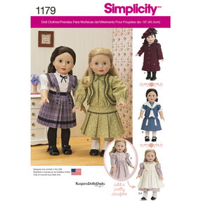 "Simplicity Pattern 1179 Vintage-Inspired Clothes for 18"" Doll"