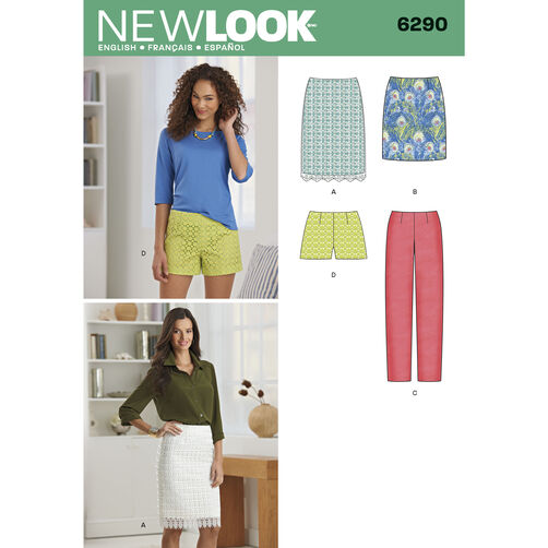 New Look Pattern 6290 Misses' Shorts, Skirt in Two Lengths and Slim Pants