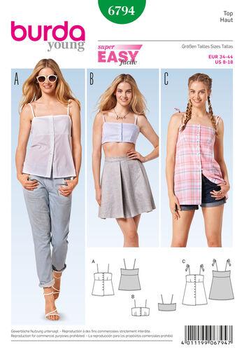 Burda Style Pattern 6794 Tops, Shirts, Blouses