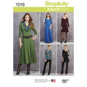 Simplicity Pattern 1018 Misses' & Petite Size Knit Dresses, Tunics, Pant & Cowl