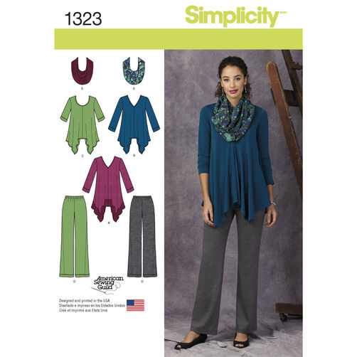 Simplicity Pattern 1323 Misses' Knit Tunics, Pants and Infinity Scarf