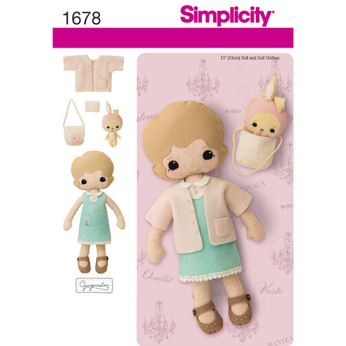 Simplicity Pattern 1678 13 inch Felt Doll, Clothes and Accessories