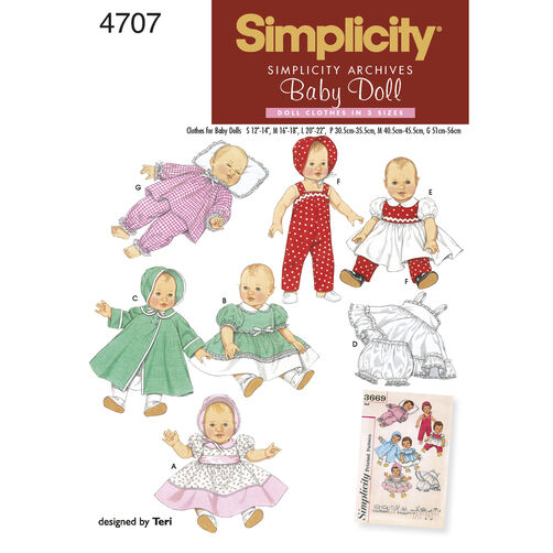 Simplicity Pattern 4707 1950s Vintage Baby Doll Clothes