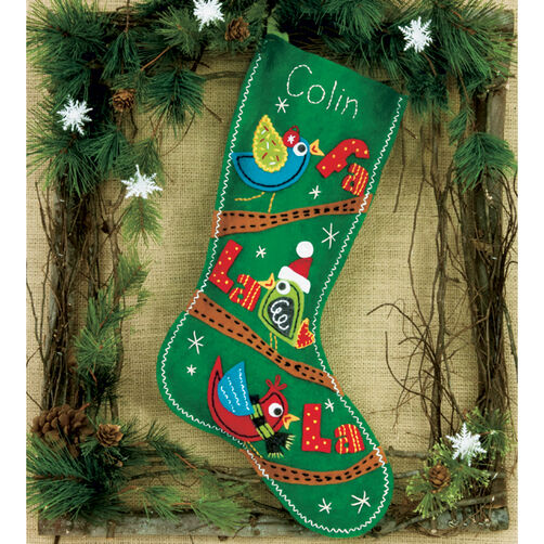 Fa La La Birds Stocking, Felt Applique_72-08179