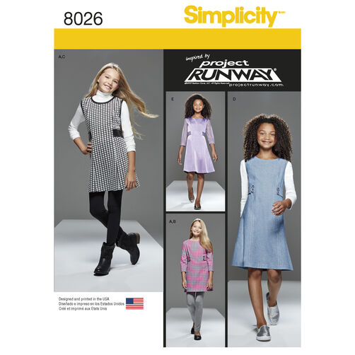 Simplicity Pattern 8026 Girls' and Girls' Plus Project Runway Dress or Jumper