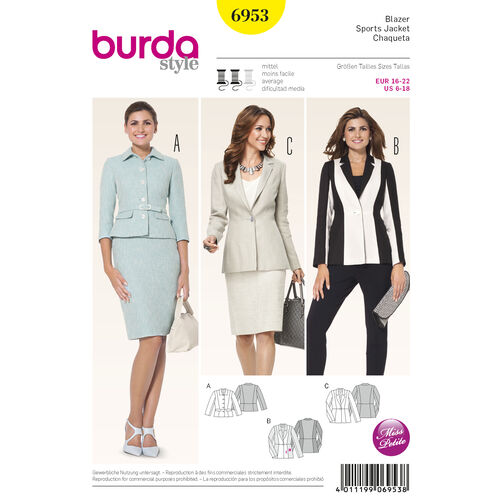Burda Style Pattern 6953 Petite / Half Sizes