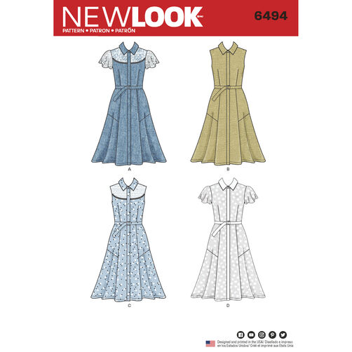 New Look Pattern 6494 Misses' Dress with Sleeve Variations