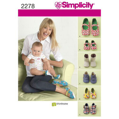 Simplicity Pattern 2278 Misses' & Baby's Shoes