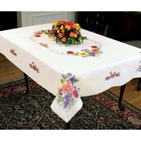 Flowers & Berries Tablecloth, Stamped Cross Stitch_73214