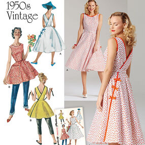Pattern 8085 Misses' Vintage 1950's Wrap Dress in Two Lengths